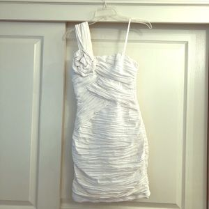 White ruched cocktail/ wedding reception dress